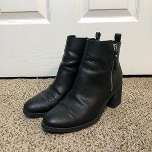 Black H&M Heeled Zipper Booties Size 8